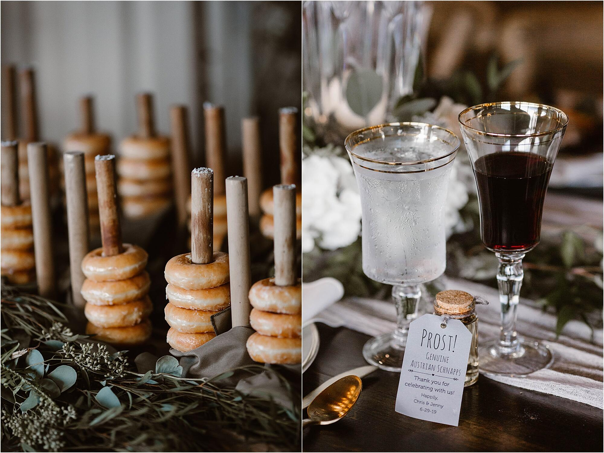Collage of 2 images. First, showcasing donuts tiered one over the other. Second, with two wine glasses.