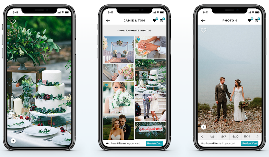 3 phones featuring SDE's extra app, an online gallery for wedding photographers & the best way to share wedding photos