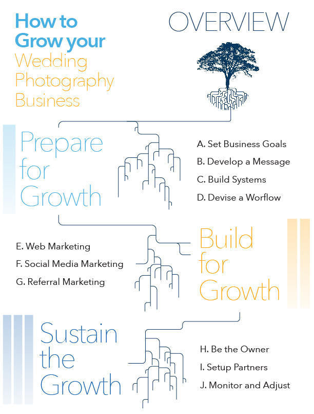 An infographic of ShootDotEdit's How to Grow Your Wedding Photography Business Guide