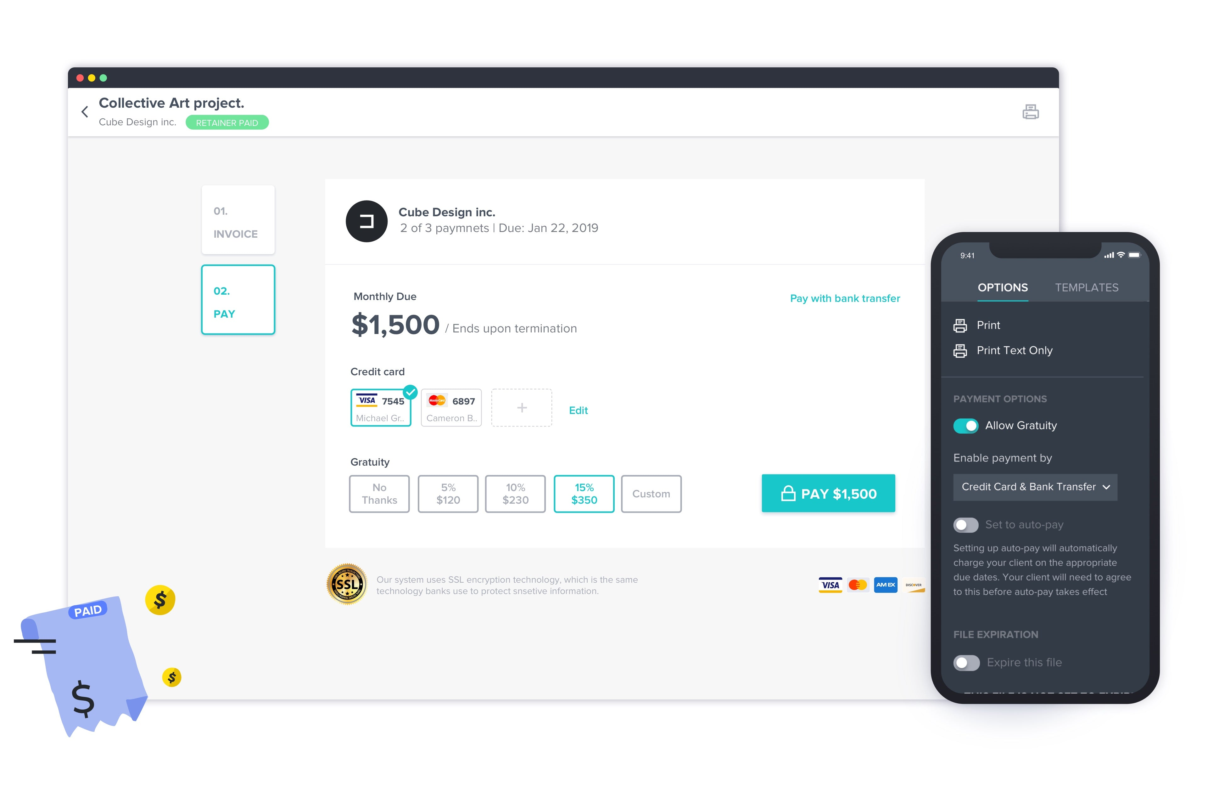 HoneyBook's Payment section on their mobile app and desktop