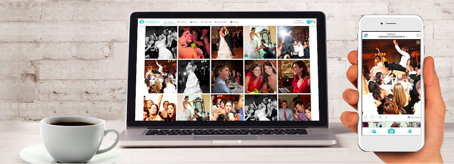 A screenshot of WedPics' desktop version and mobile app - best way to share wedding photos