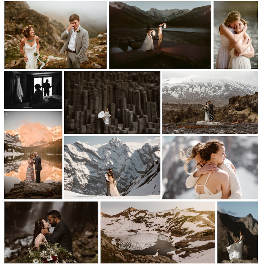 A collection of images from wedding photographer Maddie Mae's website.