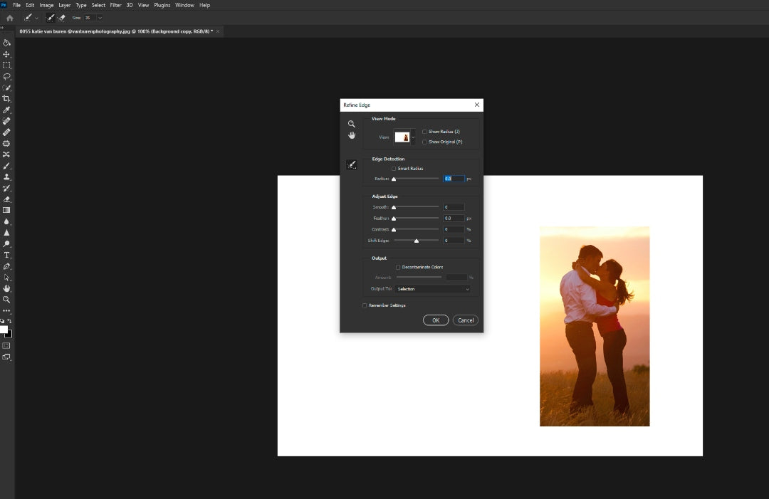 Open select and mask in Photoshop