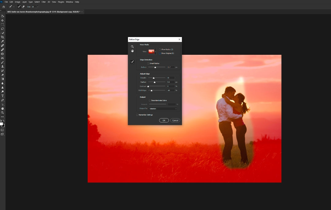 Refining selection in Photoshop