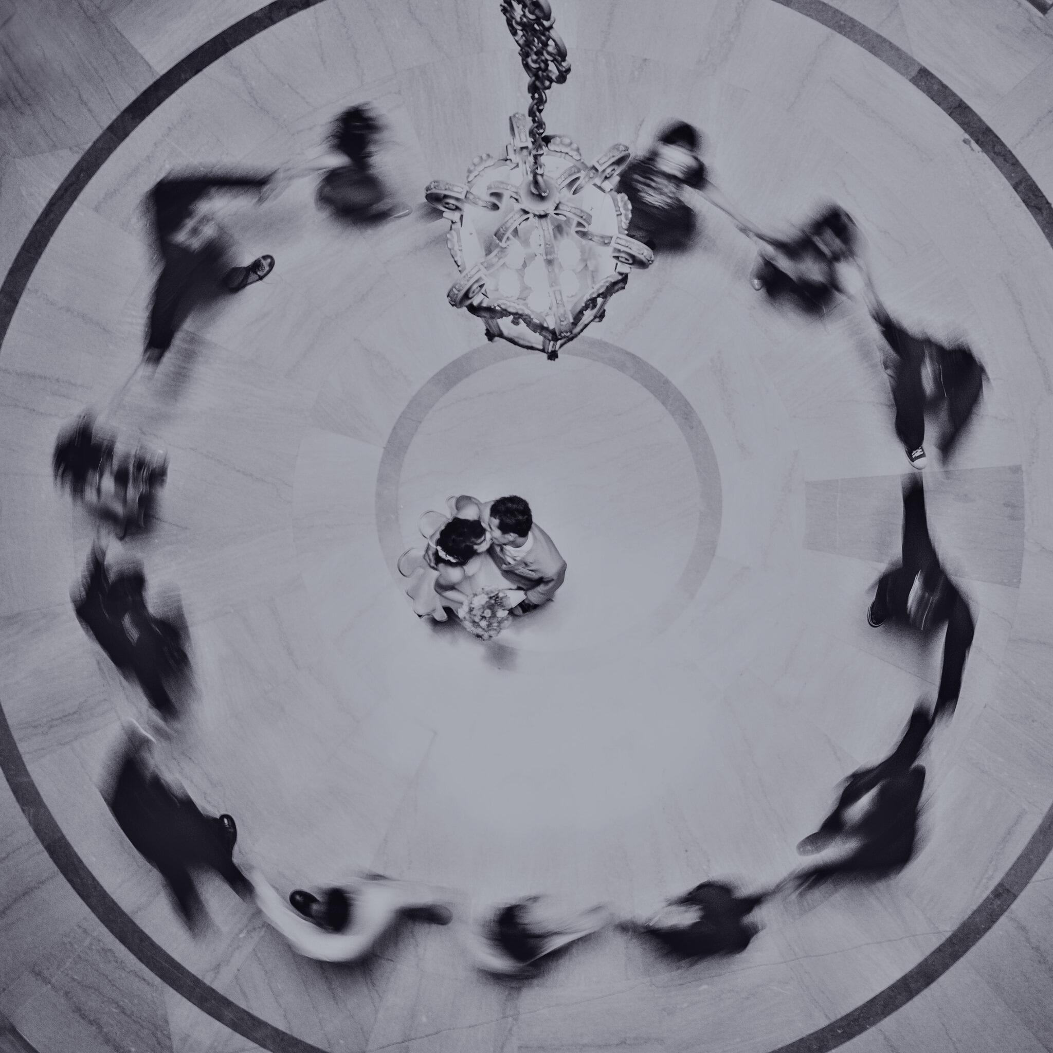 photo of couple dancing on dance floor from above