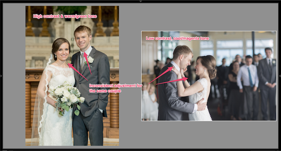 inconsistent editing images