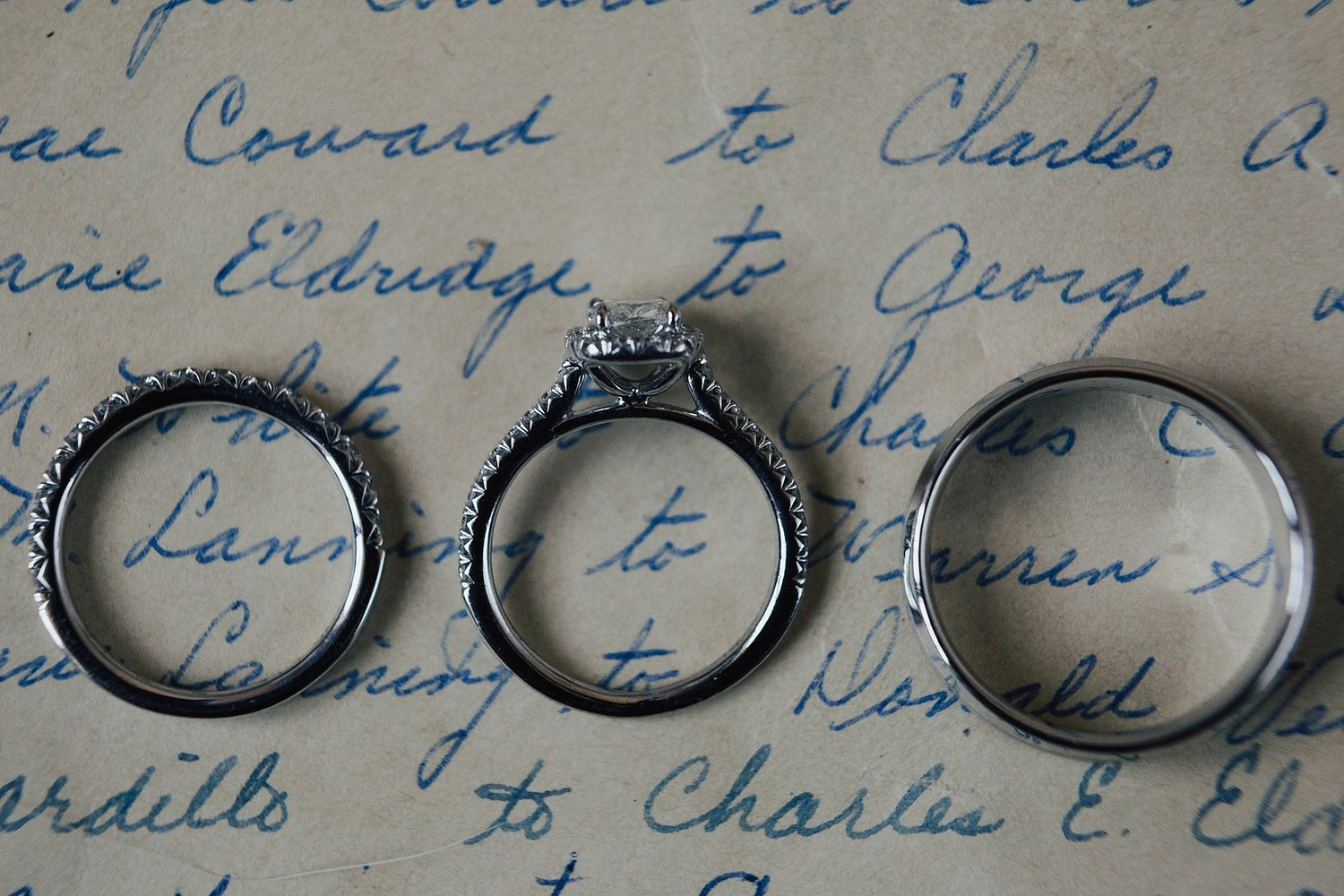 Three wedding rings placed over a handwritten letter