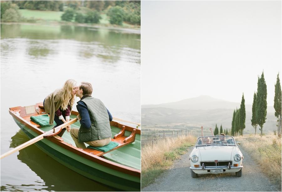 couple kissing in boar, couple driving in classic car in dirt road with trees and moutains