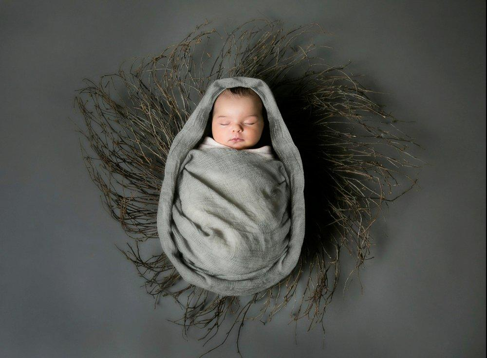 Image of a sleeping baby wrapped with a grey blanket - Featuring Katie Van Buren rebranding shift from weddings to portraits