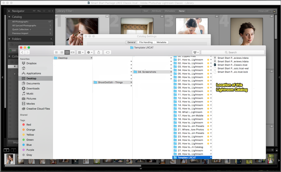 what happens in lightroom backup when click show
