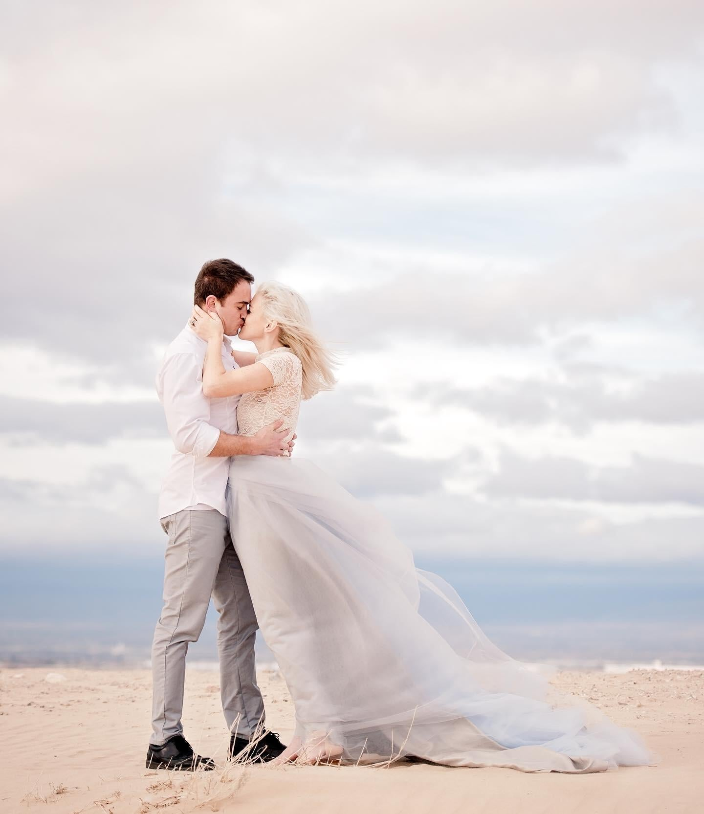 A bride and groom's first kiss moment