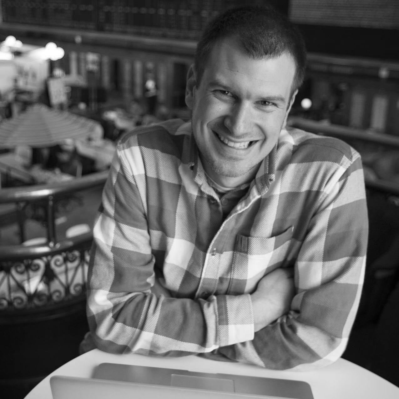 Black and white photo of Nate Grahek, the founder and CEO of Sticky