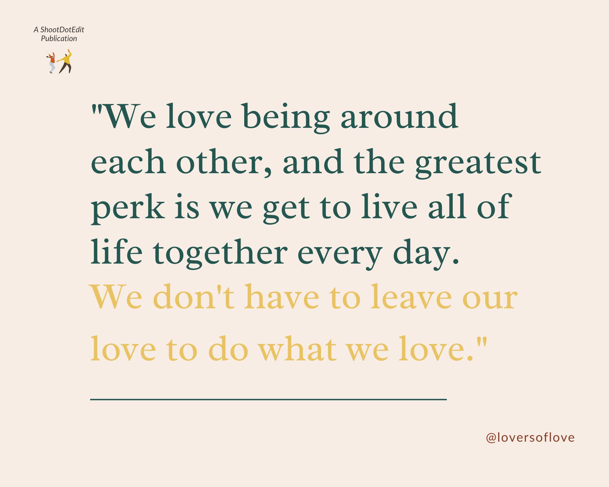 Infographic stating a quote from Lovers of Love