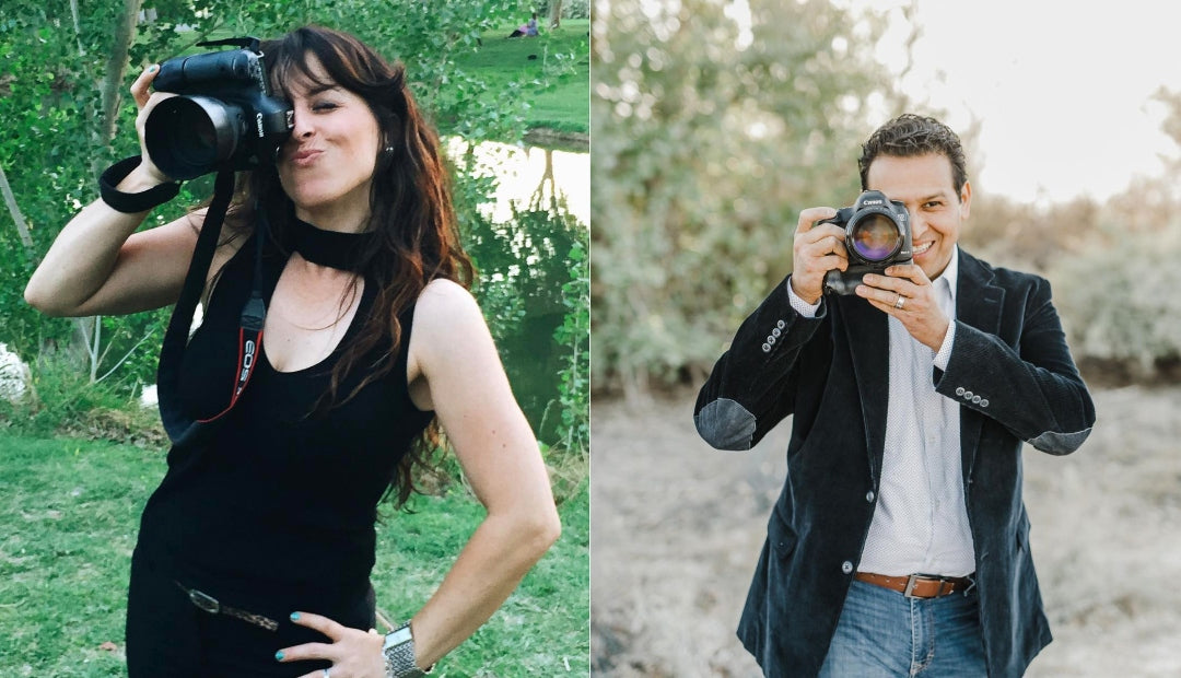 Collage of husband and wife photographers Natalie and Brandon