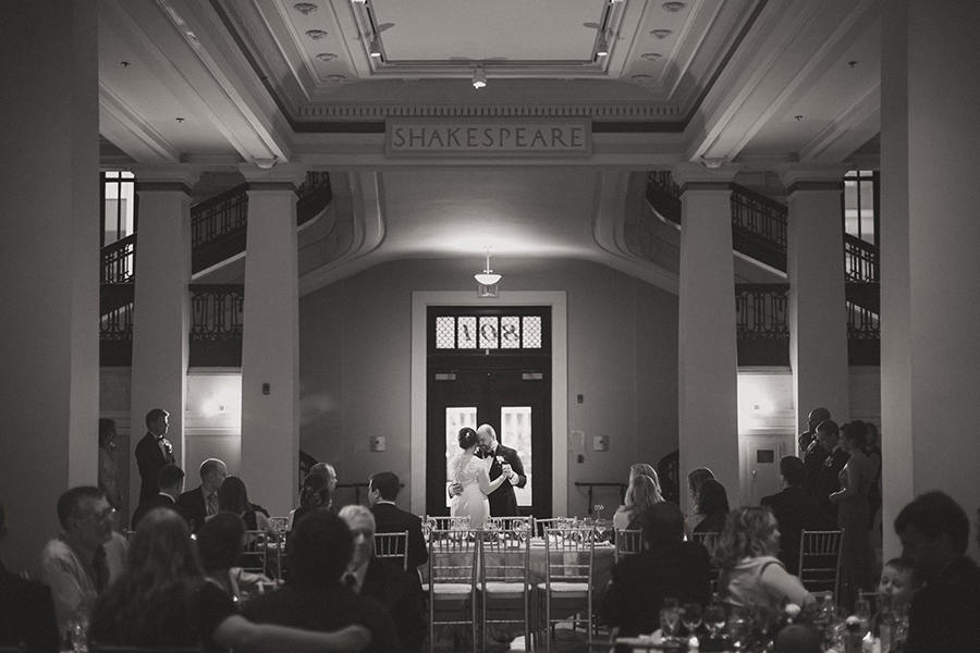 black and white first dance wedding photo