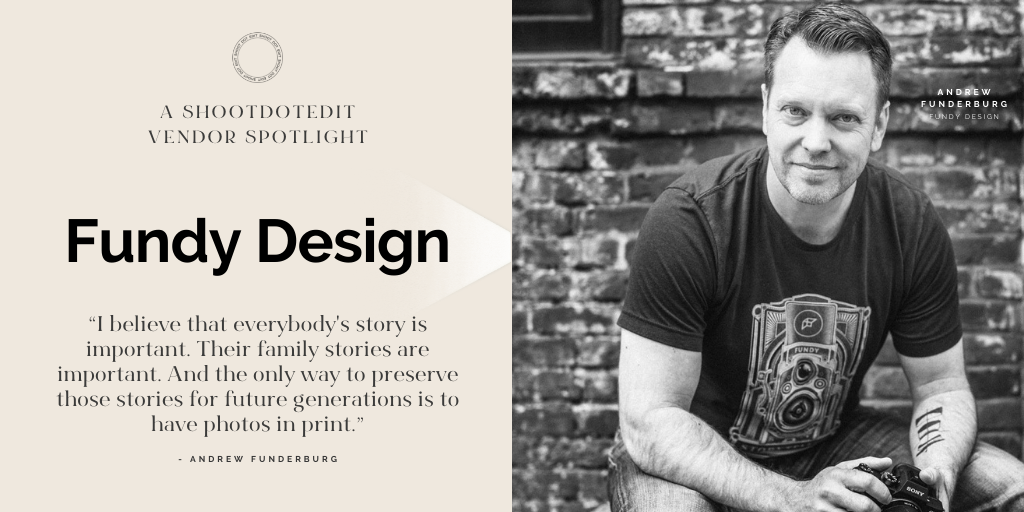 Infographic about Fundy Designer at the left with a thumbnail of Andrew Funderburg on the right