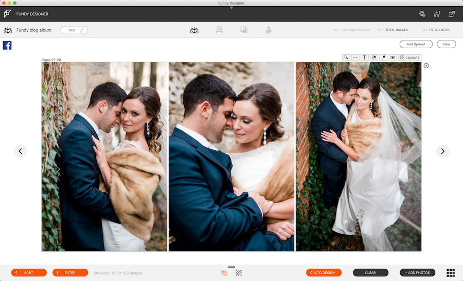 In Fundy Software's album design tool, where three wedding images are side by side.