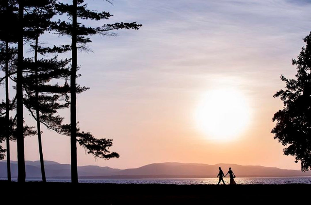Silhouette of a couple walking by the beachside while holding hands