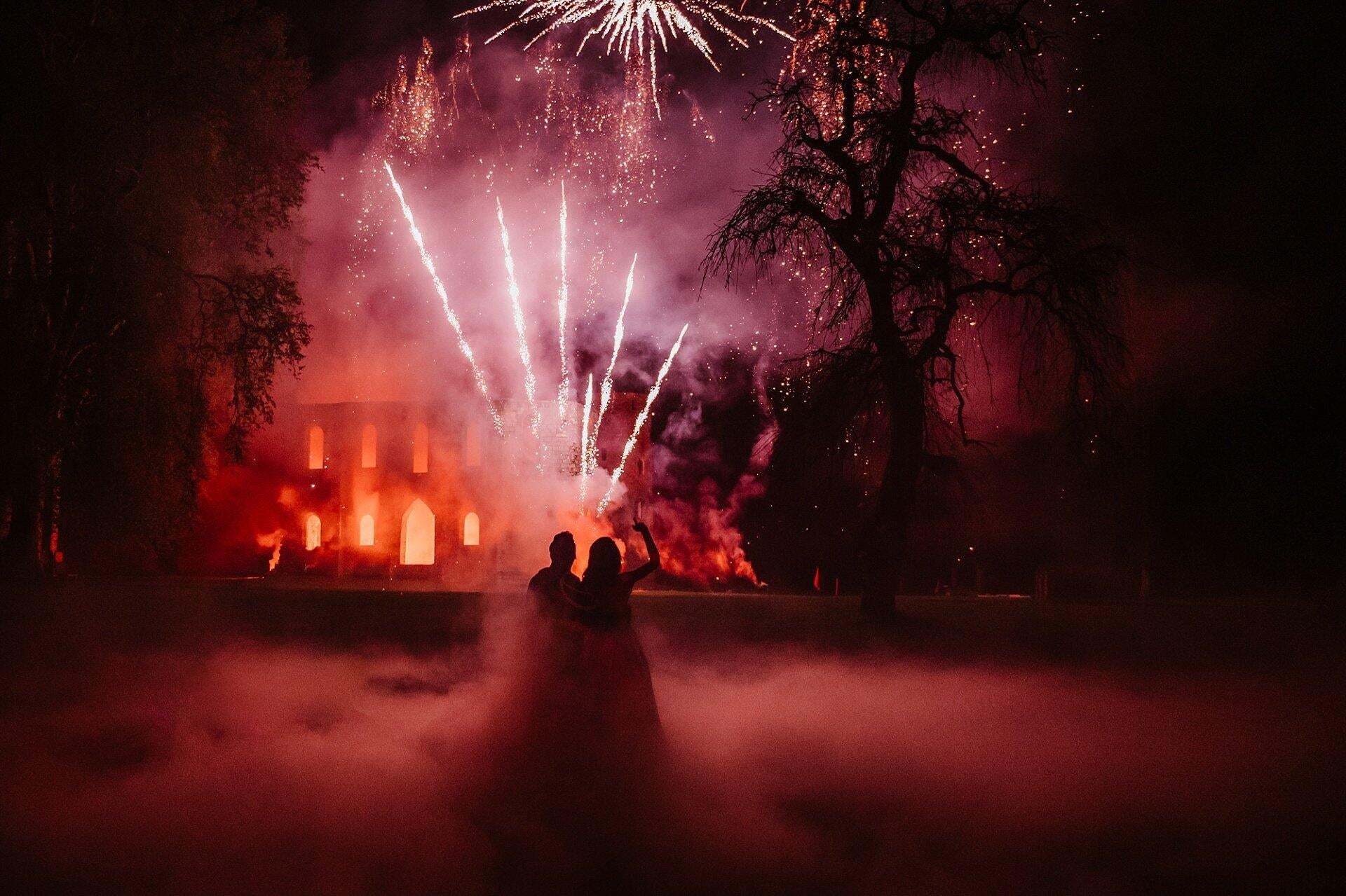fireworks at the end of a wedding