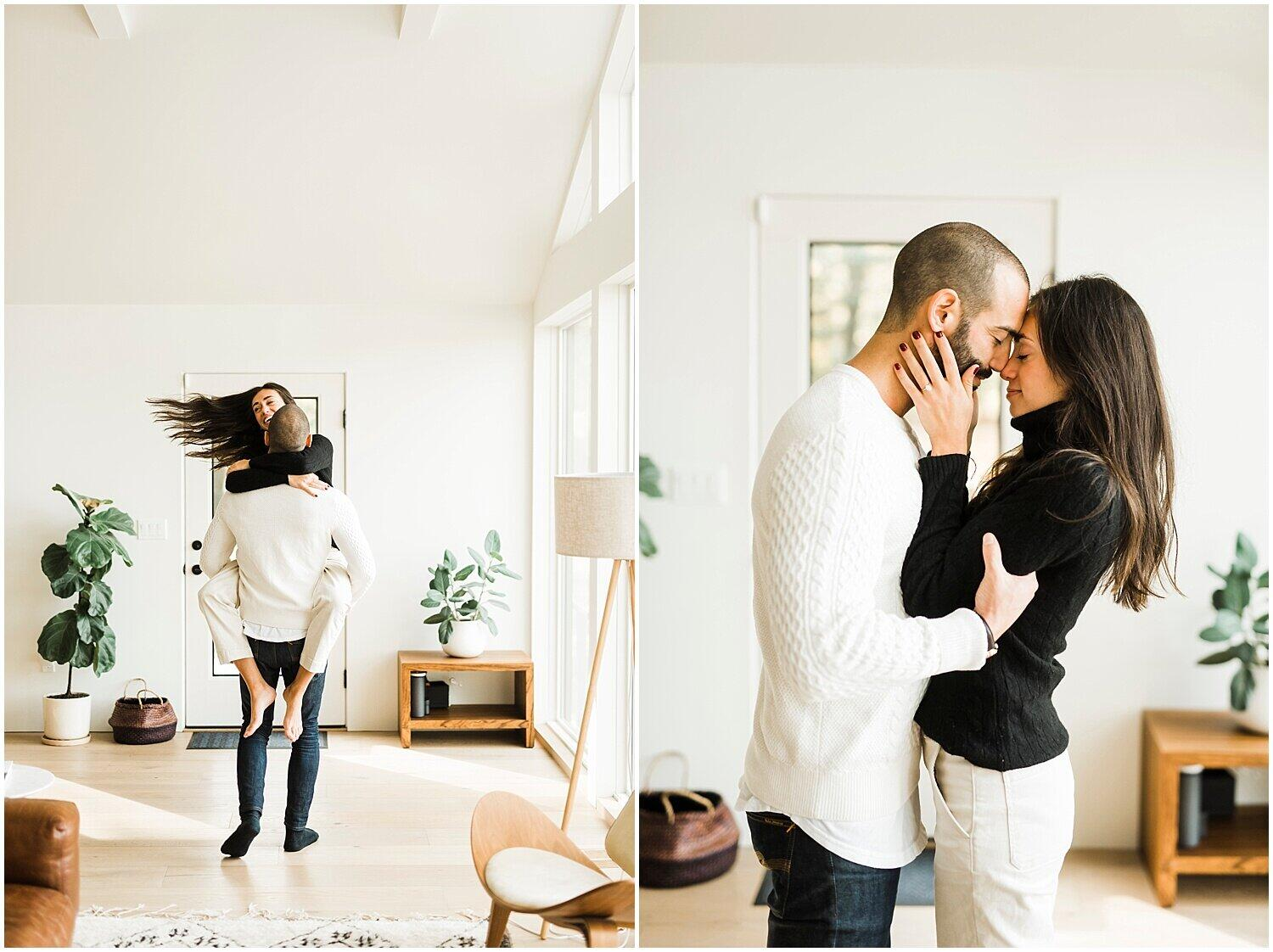 Collage of 2 photos in an indoor engagement session The guy lifting up the girl on his arms in the left image. The couple facing each other in the right image