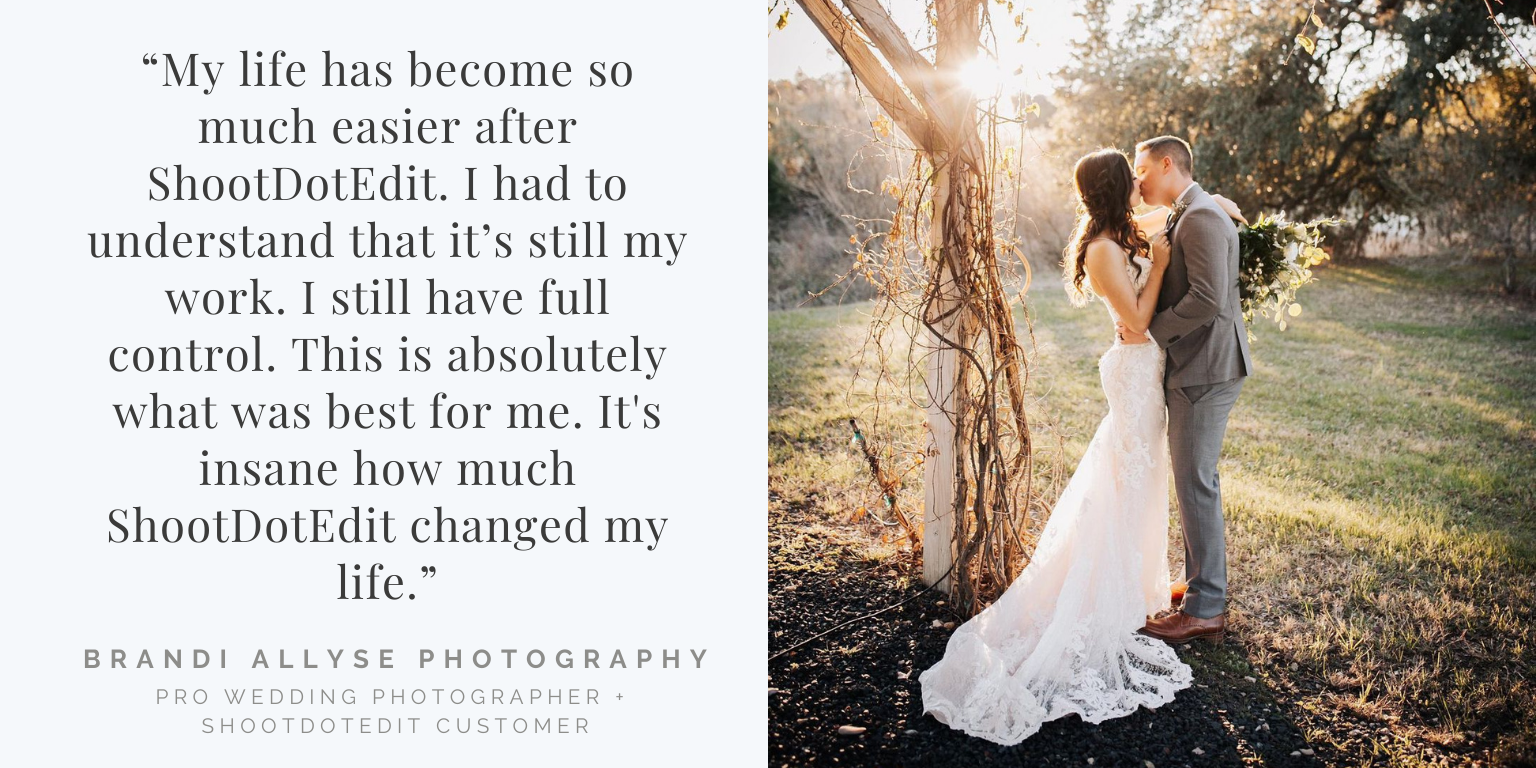 Infographic stating ShootDotEdit review quote and thumbnail image from Brandi Allyse Photography