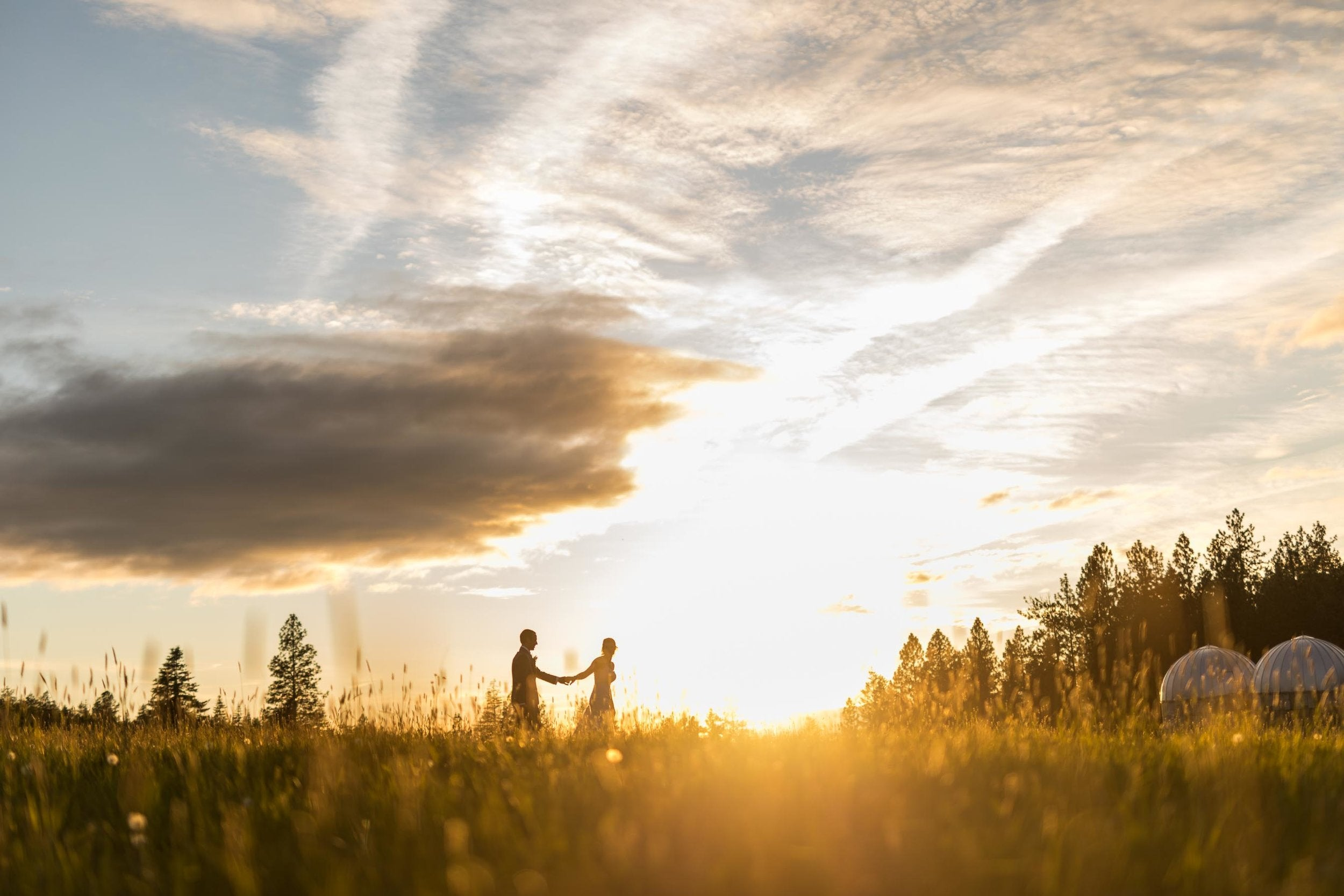 Couple holding hands as they walk through a farm