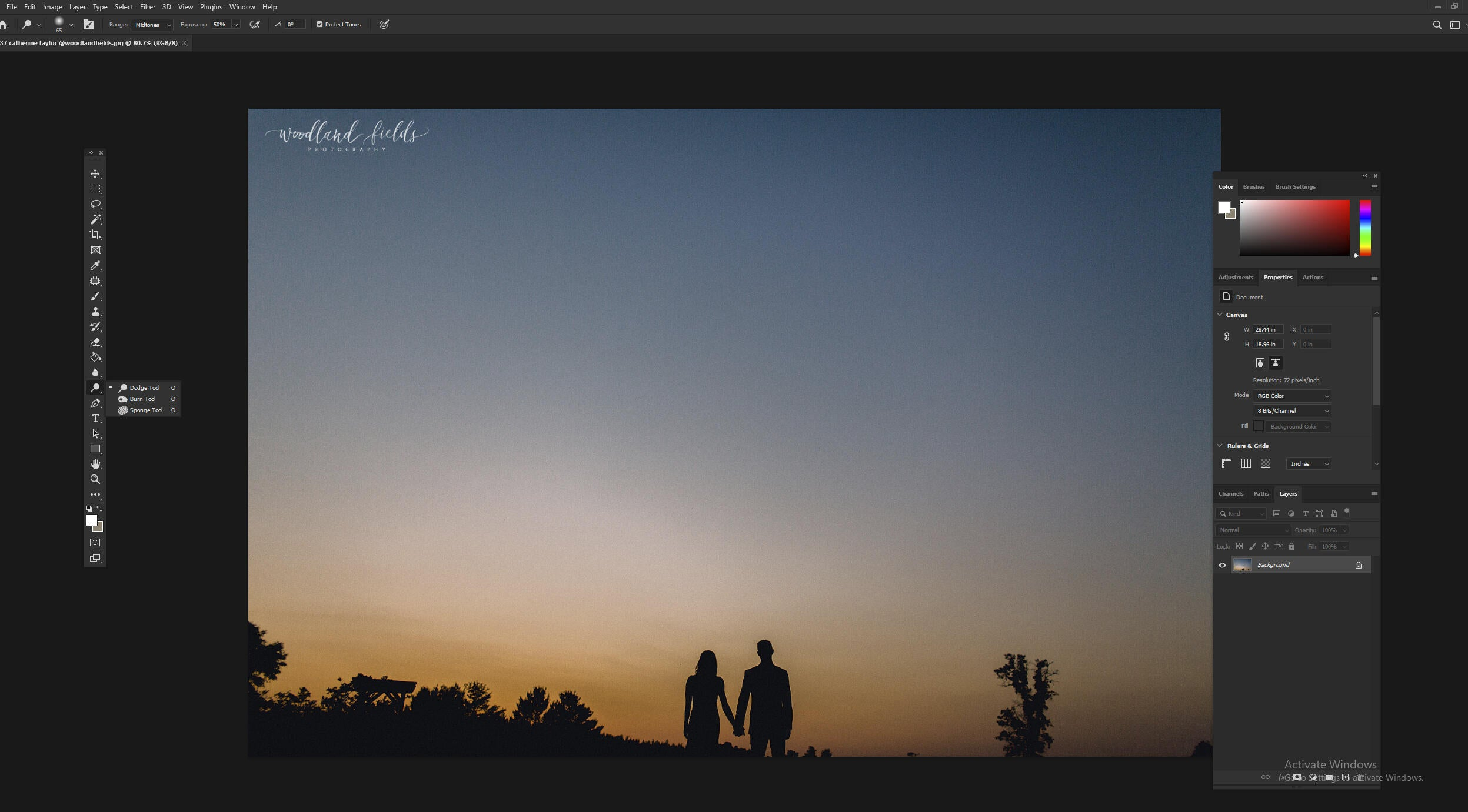 Using dodge and burn tools in Photoshop