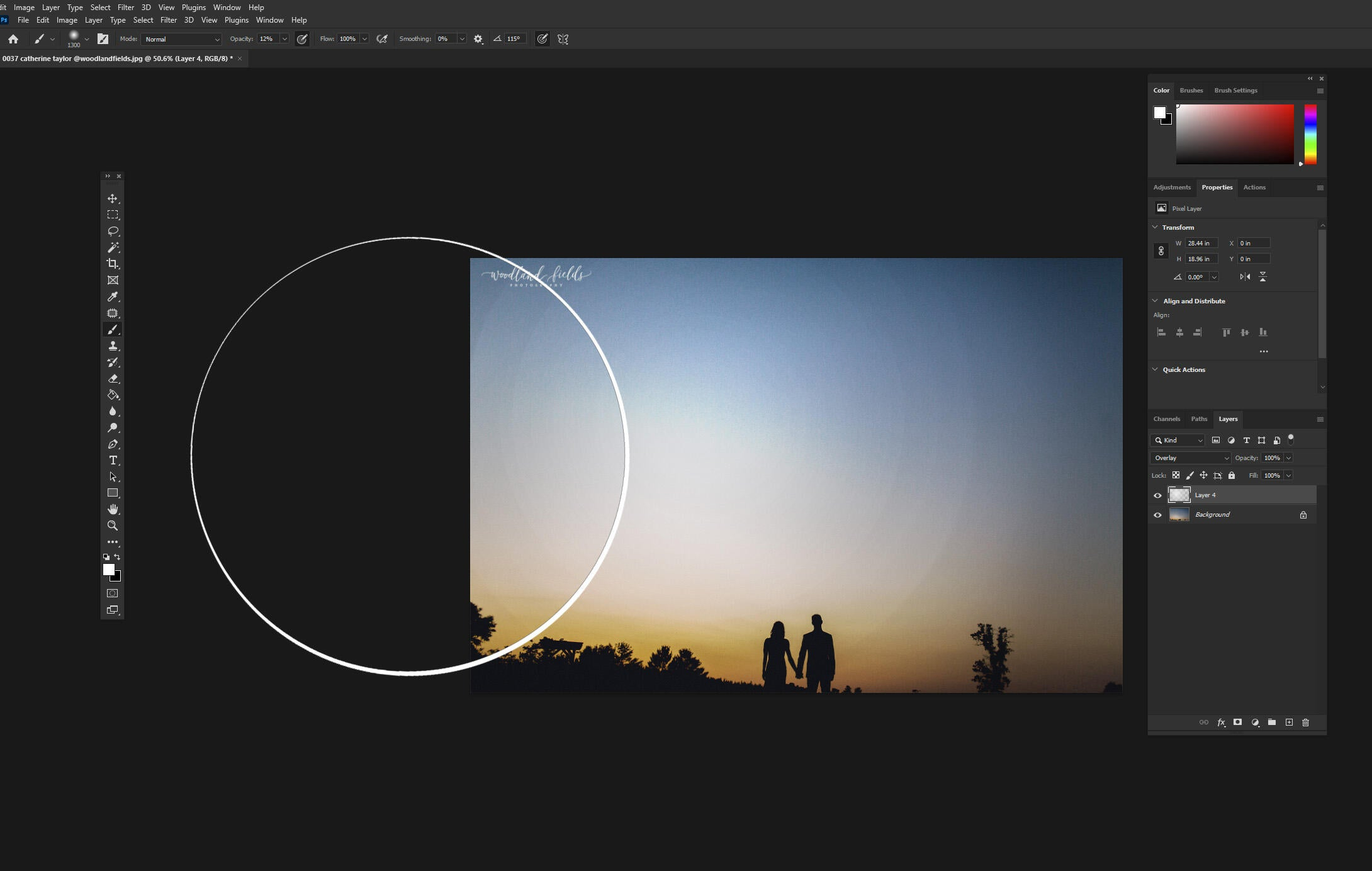 Using the brush tool to dodge and burn when editing your wedding photo