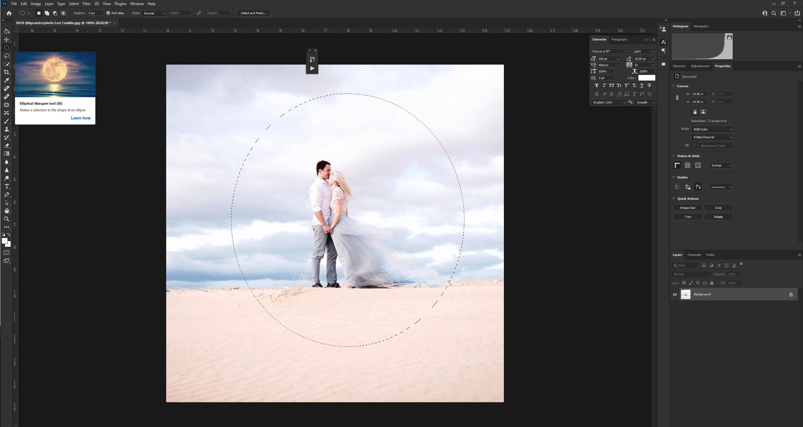 Making selection through elliptical marquee tool in Photoshop