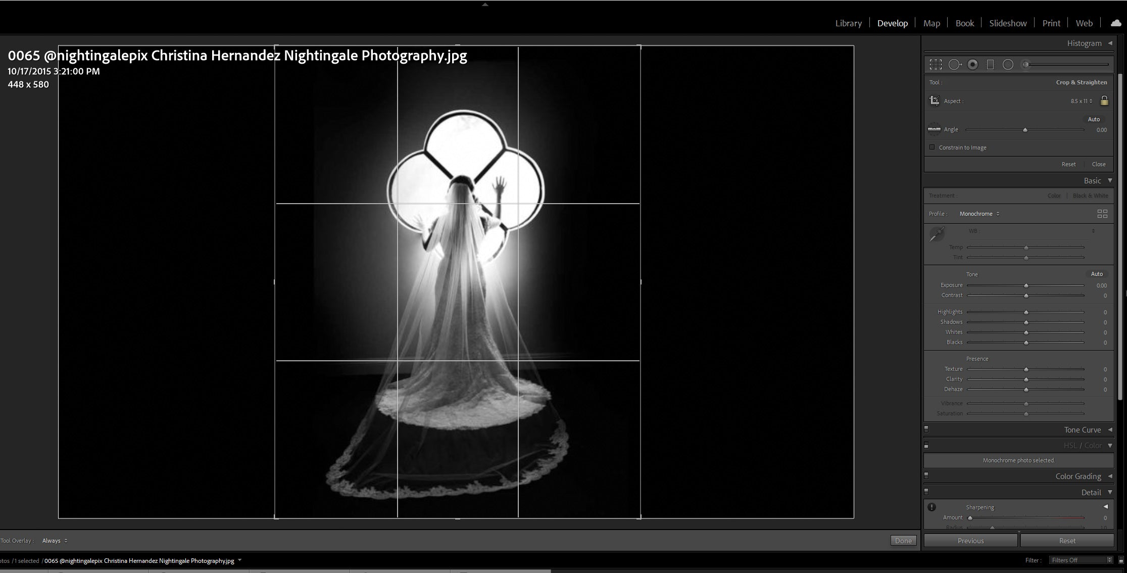 Changing the aspect ratio of an image in Lightroom