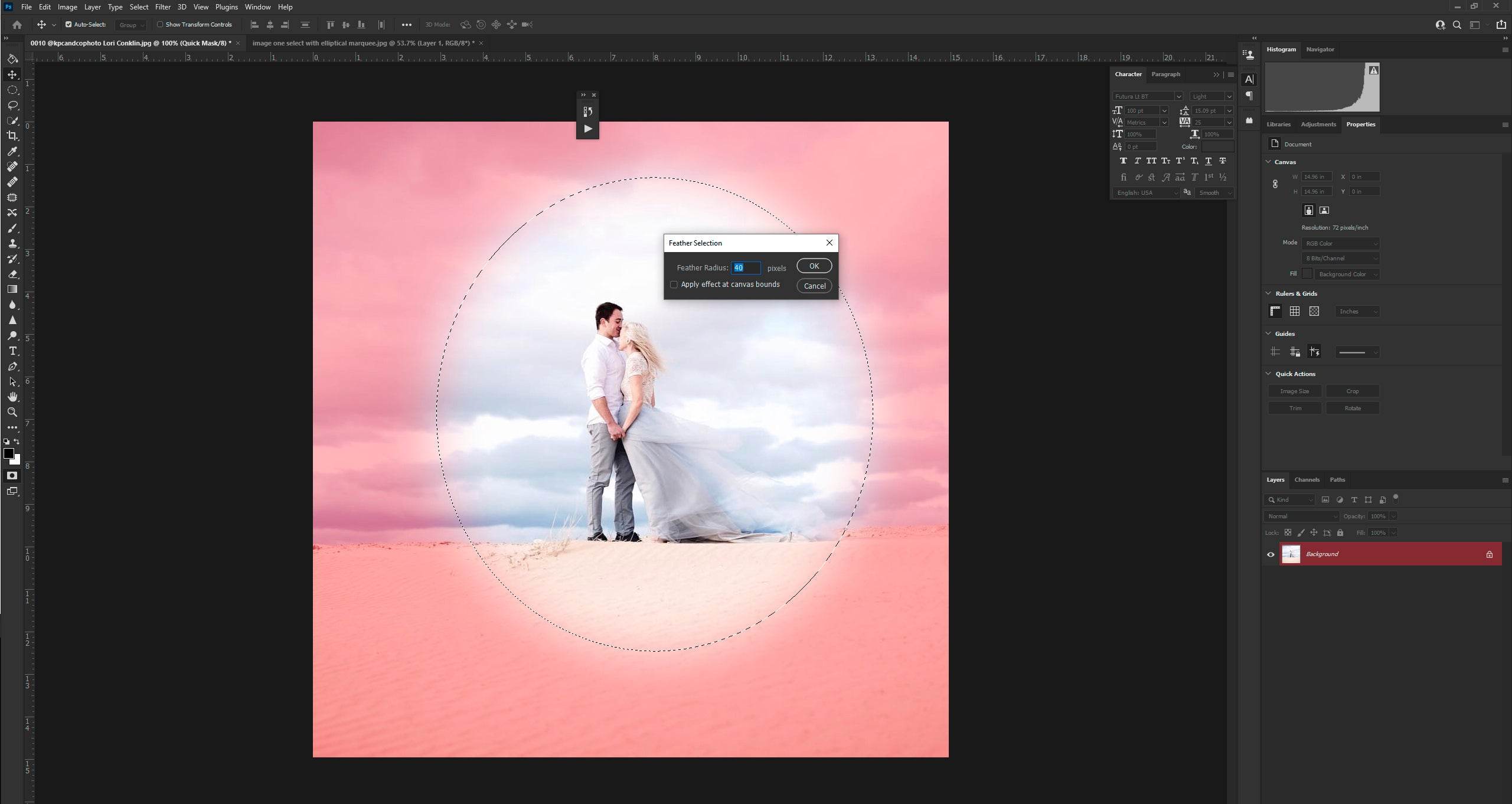 Feathering the edges in Photoshop