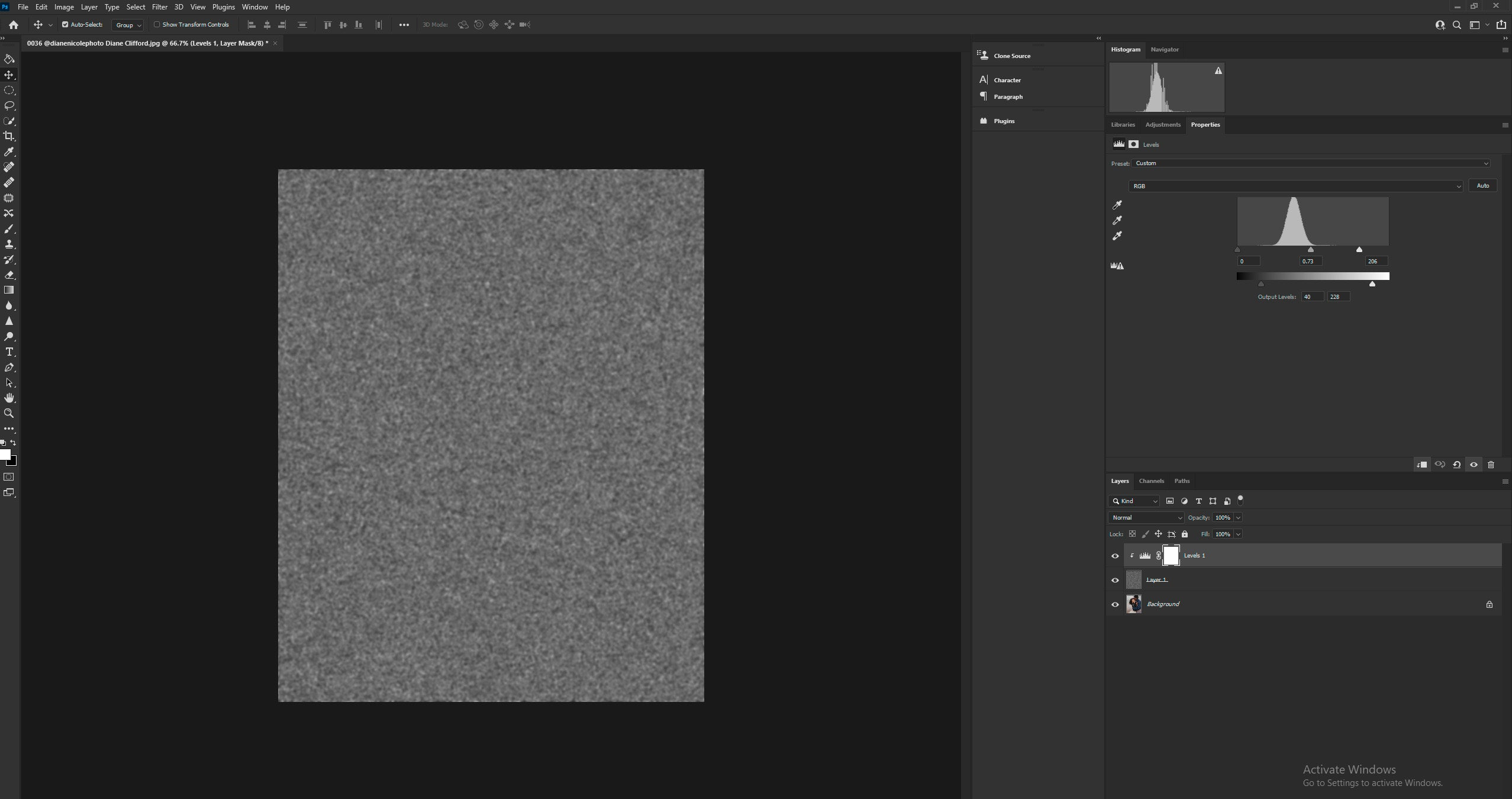 Using Levels Command to reduce and brighten the noise