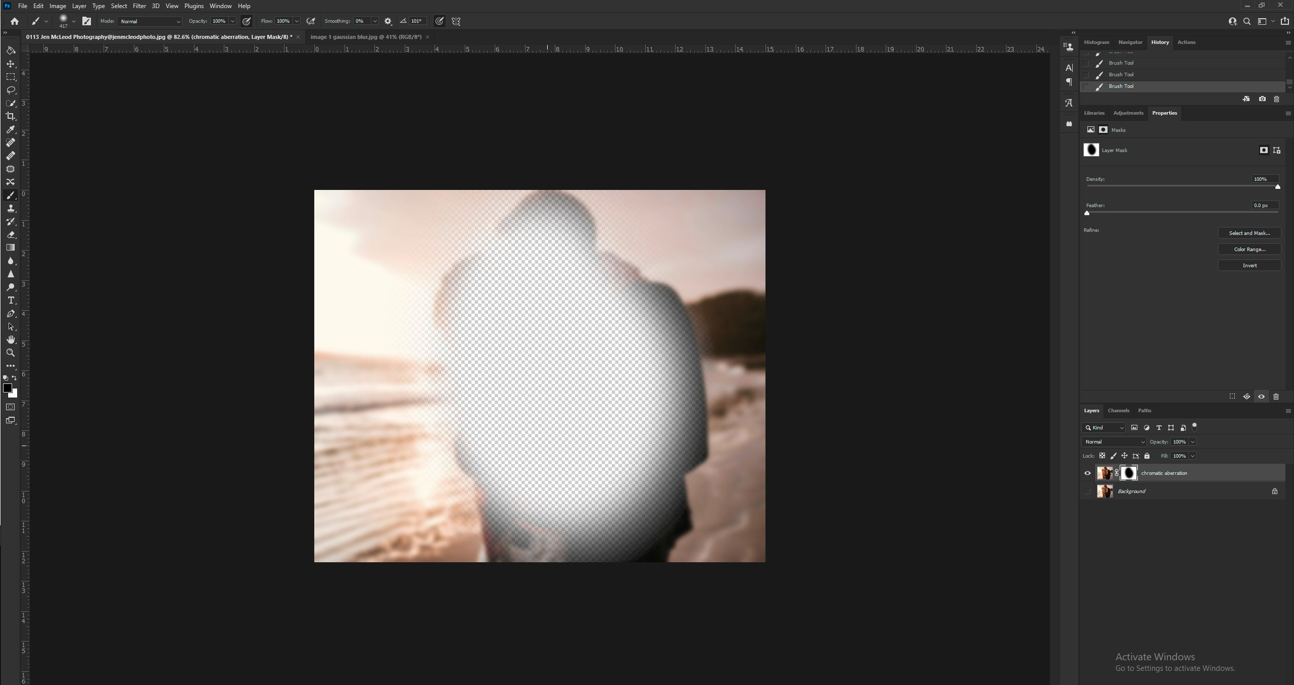 Use of layer mask to mask out blur in Photoshop