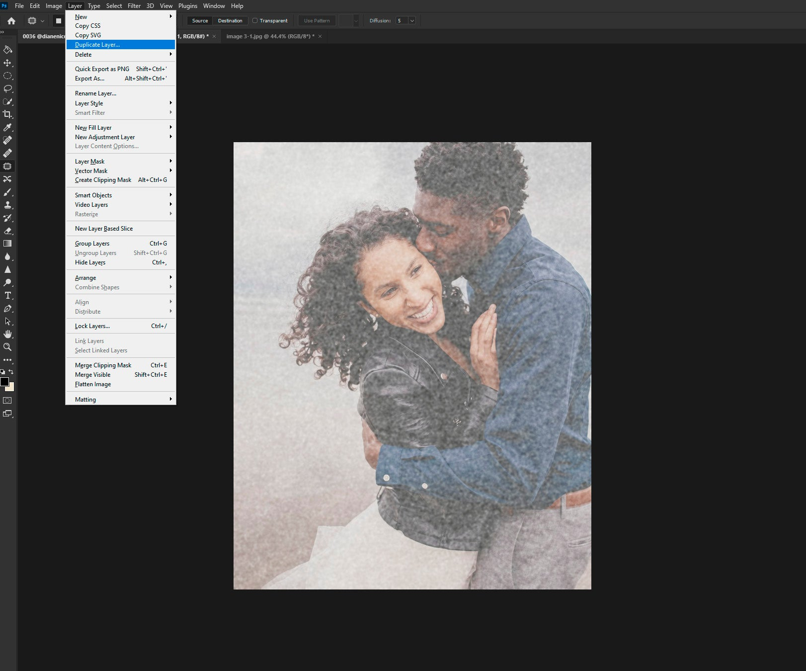 Duplicating the layer in Photoshop