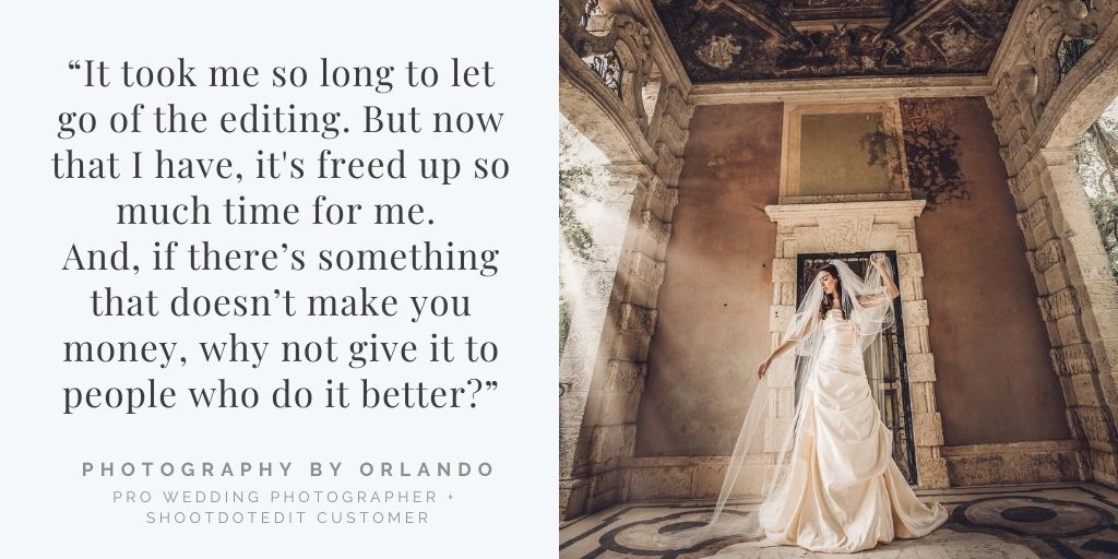 ShootDotEdit customer review quote and image from Photography By Orlando