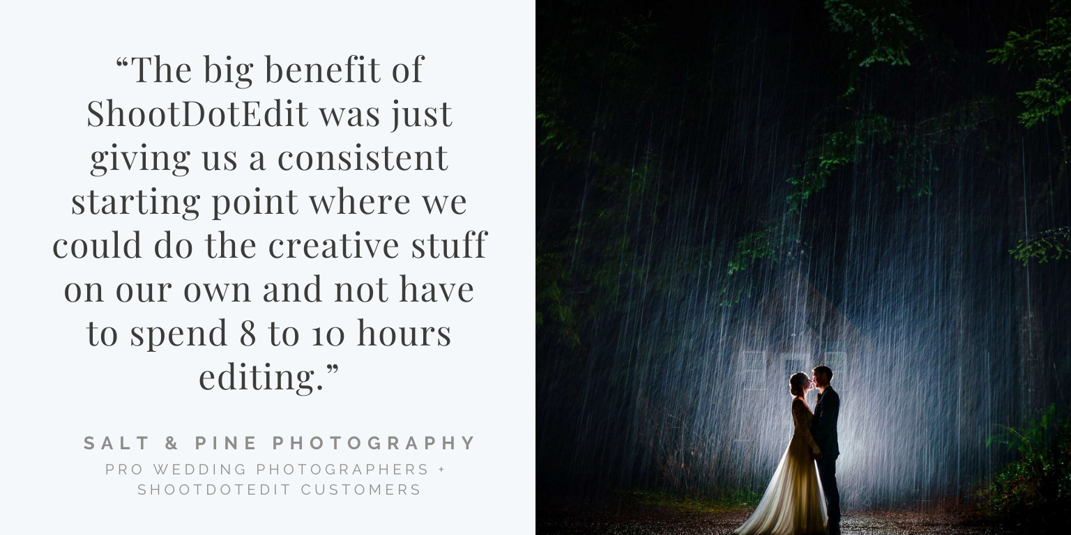 Infographic stating ShootDotEdit customer review and thumbnail image from Salt and Pine Photography