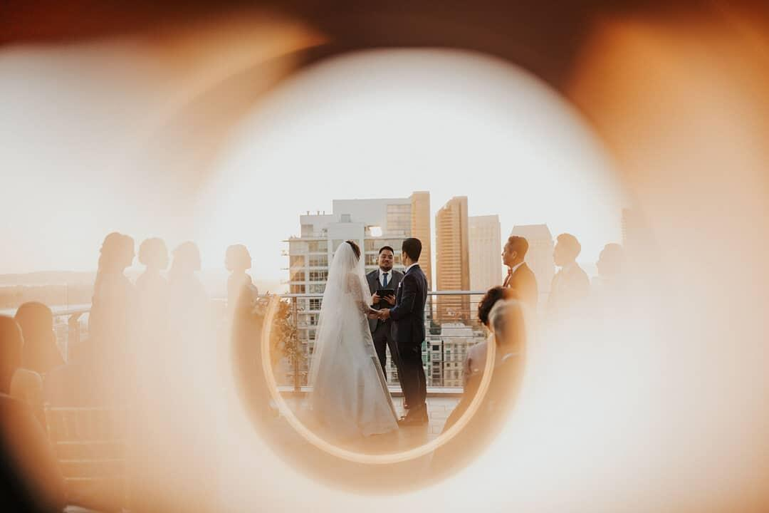 A couple standing at the altar during the ceremony