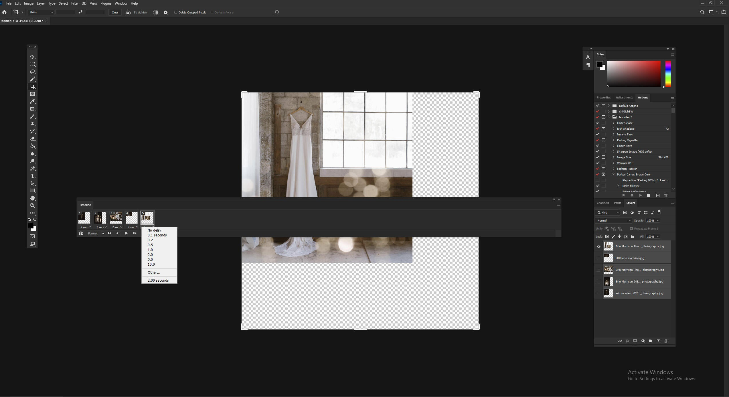 making frames from layers for creating GIFs