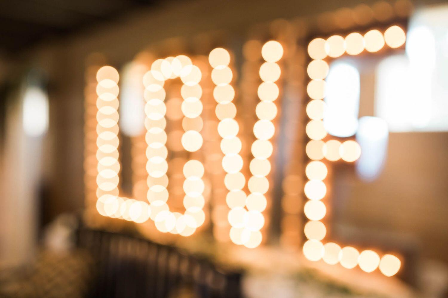 love spelled out in bulb lights