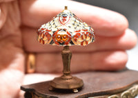 Dollhouse Miniature Tiffany Stained Glass Lamp, 1/12 Scale Miniature Lighting