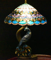 Unpainted Dollhouse Miniature Peacock Tiffany Stained Glass Lamp Kit, DIY 1/12 Scale Miniature Lighting