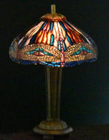 Dollhouse Miniature Dragonfly Tiffany Stained Glass Lamp, 1/12 Scale Miniature Lighting