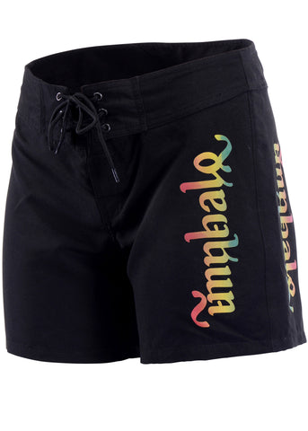 Ladies' Black & Rasta Surf Boardshorts