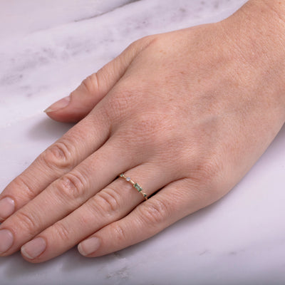Limited Edition Four-Step Baguette Tourmaline and Diamond Ring