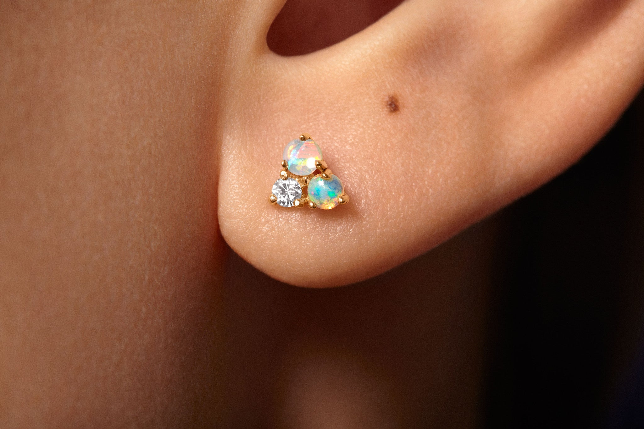 Tri-Opal & Diamond Earrings