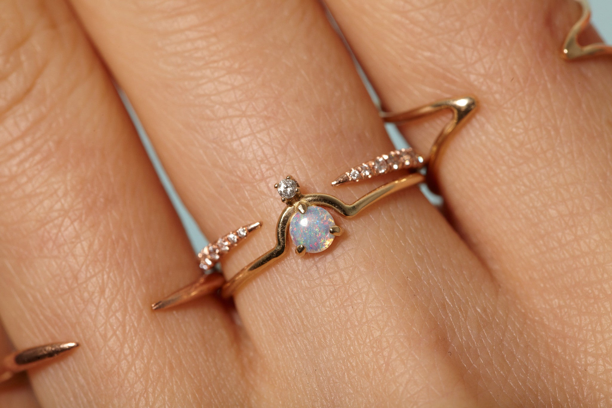 pairing micropave stack opal rings products open and nestled slice