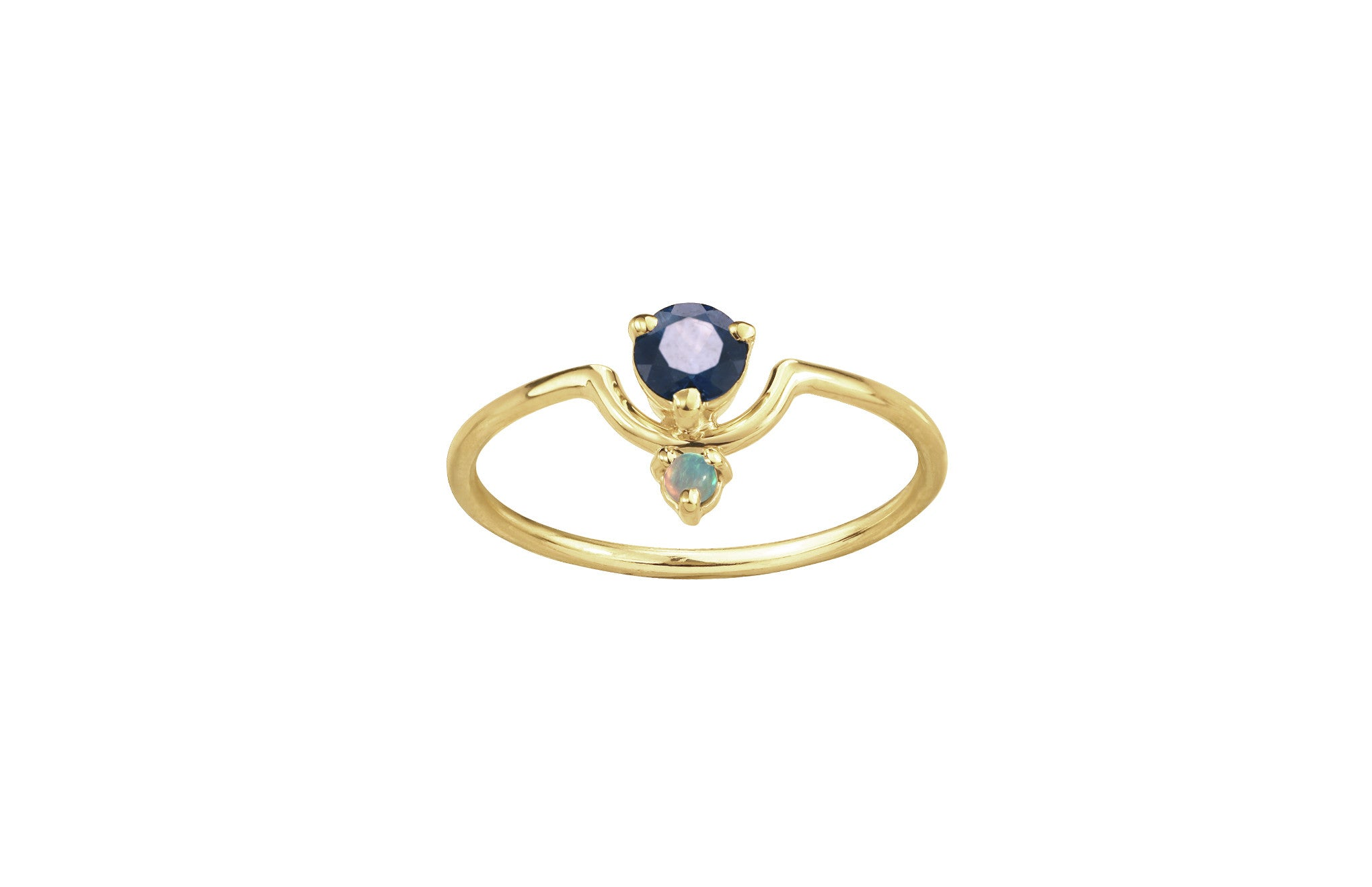One of a Kind Nestled Sapphire and Opal Ring - Available at Ylang 23
