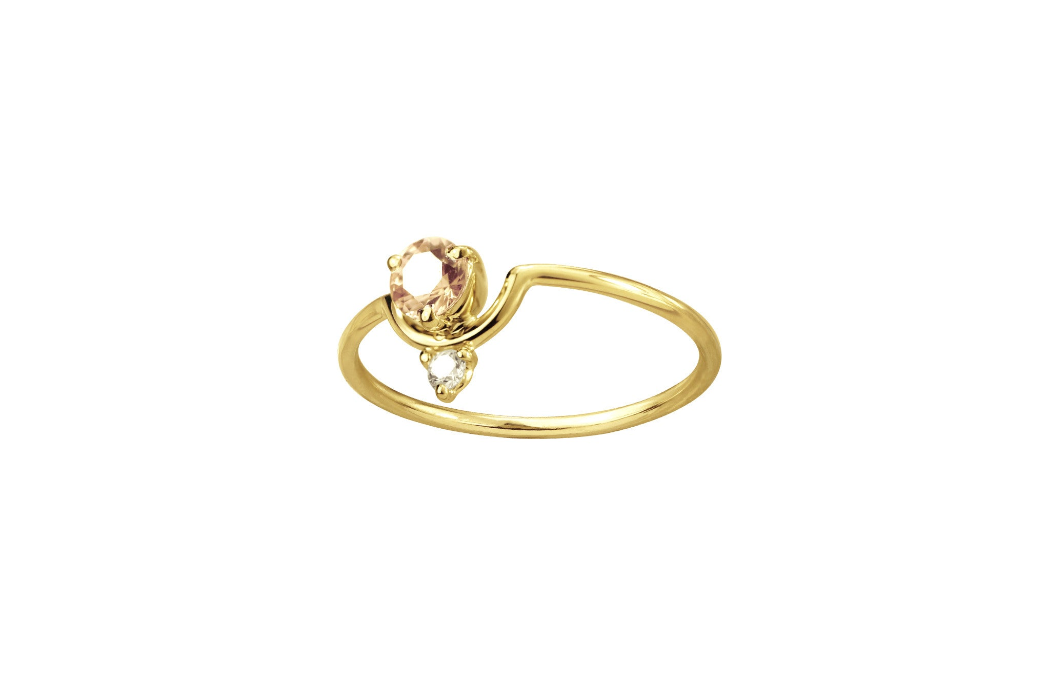 One of a Kind Nestled Peach Sapphire and Diamond Ring