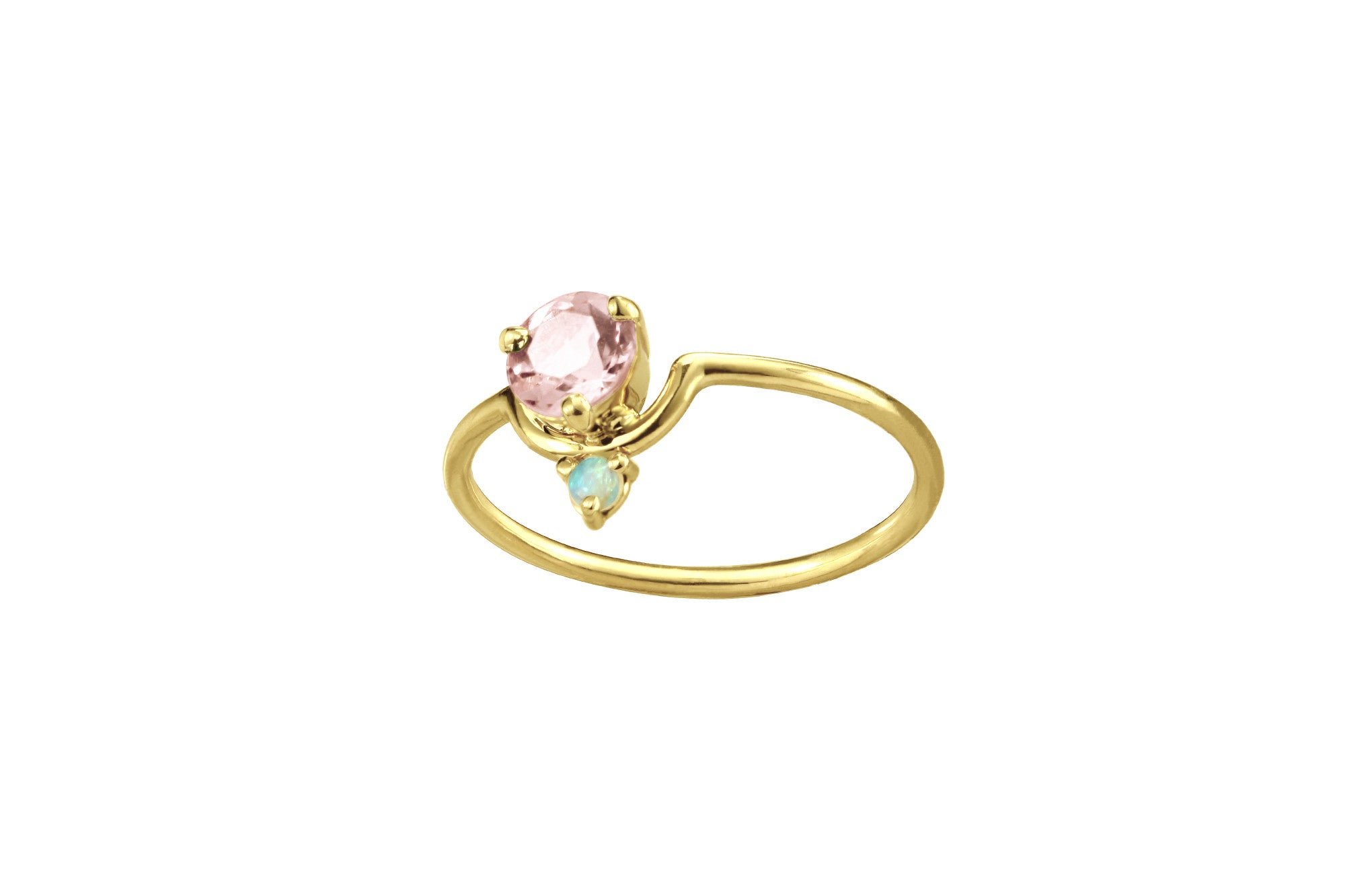 One of a Kind Nestled Morganite and Opal Ring