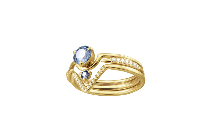 One of a Kind Nestled Light Sapphires Ring